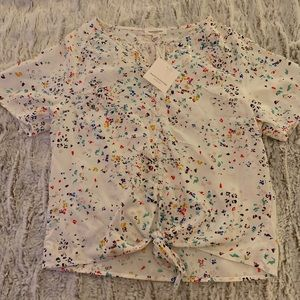 NWT 🌸Floral Tie Waist Beach Lunch Lounge Top